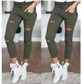 Women hole leggings Womens Ladies Stretch Faded Ripped Slim Fit Skinny Denim Jeans Pants Cotton Leggings Jeans Pants For Women