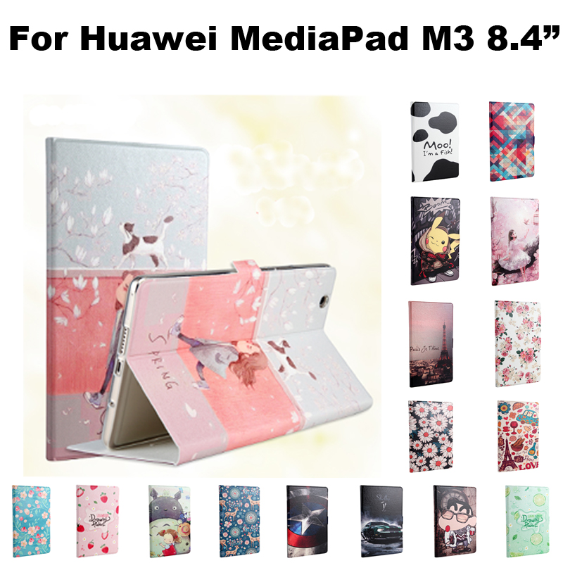 PU Leather Case cover For Huawei MediaPad M3 8.4 inch Tablet PC Protective Case For Huawei M3 BTV-W09 BTV-DL09+Film+Stylus+OTG coque smart cover colorful painting pu leather stand case for huawei mediapad m3 lite 8 8 0 inch cpn w09 cpn al00 tablet