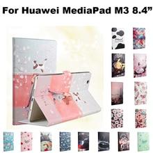 Cuero de la pu case cubierta para huawei mediapad m3 8.4 pulgadas tablet pc case para huawei protectora m3 btv-w09 btv-dl09 + film + stylus + otg