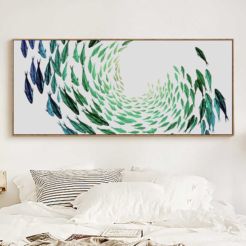Elegant Poetry Simple Life Zen Abstract Fish Banner Canvas Painting Art  Print Poster Wall Paintings Bedroom Wall Home Decoration