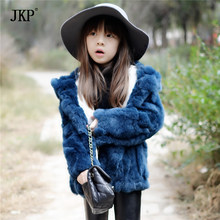 100% Leather Fur Adult/Child Hooded Rex Rabbit Fur Coat Coat Clothing Fur Coat Genuine Winter Warm Long-Sleeved Beautiful Hat(China)