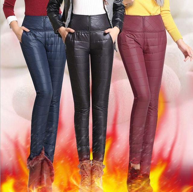 7874000782fea2 Plus size 6X 5XL Winter High Waist Down Pants Outer Wear Women Slim Warm  Windproof Velvet
