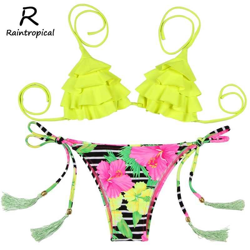 Raintropical, новинка 2019, сексуальные бикини, женский купальник, с высокой талией, Bathi ng, костюмы для плавания, Холтер, топ, пуш-ап, бикини, набор размера плюс
