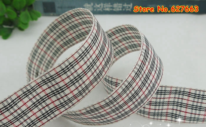 1 25mm font b Tartan b font Plaid Ribbon Bows Appliques Sewing Crafts 50Y lot