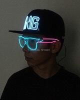Controllo del suono Bi-Colori Glowing Sfilata di Moda Occhiali Corda EL Filo Striscia Principale Tubo Scintillante Eyewear per Natale Pasqua giorno