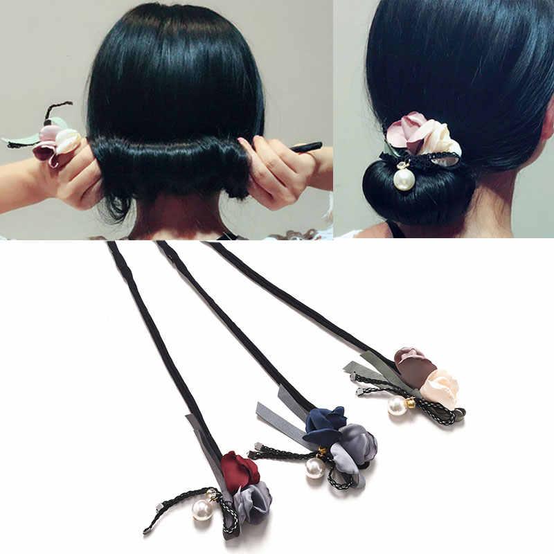 M MISM Mới Ngọc Trai Hoa Bow Knot Bun Tóc ban nhạc Làm Phong Cách Tóc Phụ Kiện Bun Tóc Món Ăn TỰ LÀM Cho Phụ Nữ cô gái