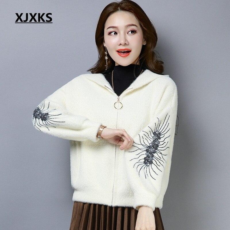 Xjxks Mode Capuchon Confortable Noir Veste 2018 marron Mujer Automne Femmes De Ulzzang blanc À Harajuku Zipper Chamarras Manteaux rouge rwfqY1r