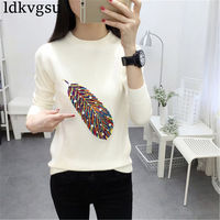 New Colorful Feather Embroidery Sweater with Beads Women Luxury Beading Pullover Tops Fashion Long Sleeve Elegant Knitted Jumper