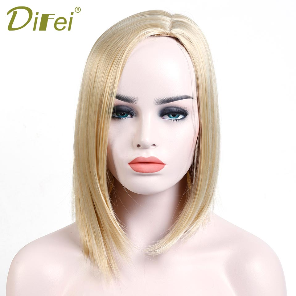 DIFEI wig Blond Medium Straight Bob Synthetic Hair Cosplay Wig For Women Heat Resistant Fiber Daily Full Hair