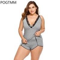 Big Size Backless Women Pajamas Lace Pyjama Set V Neck Sexy Home Suit Night Costumes Black
