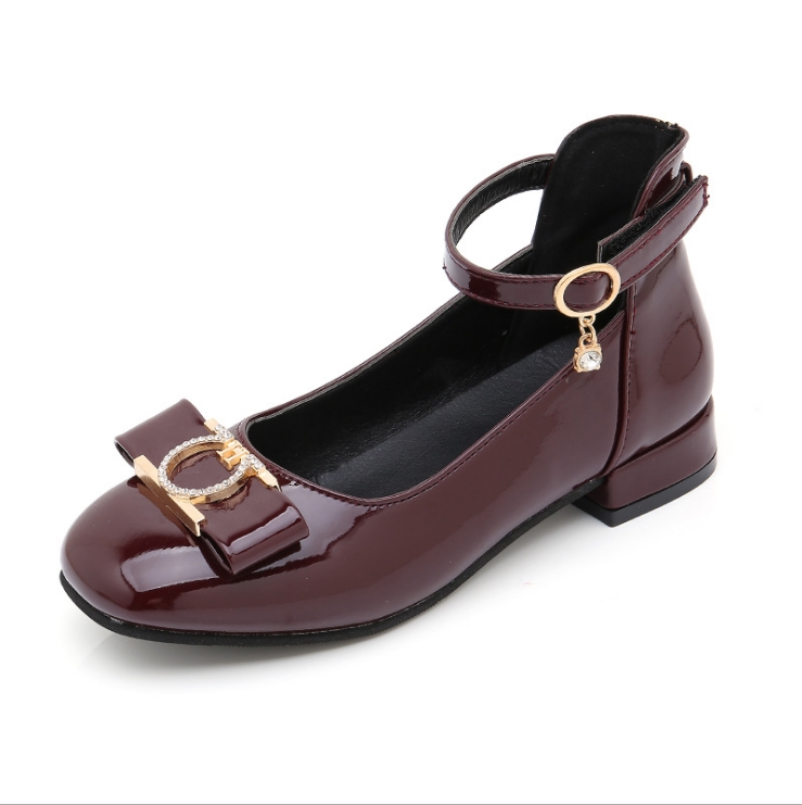 Girls shoes fashion bow princess shoes 2019 spring student dance shoes black big children students metal decorative shoes Sneakers     - title=