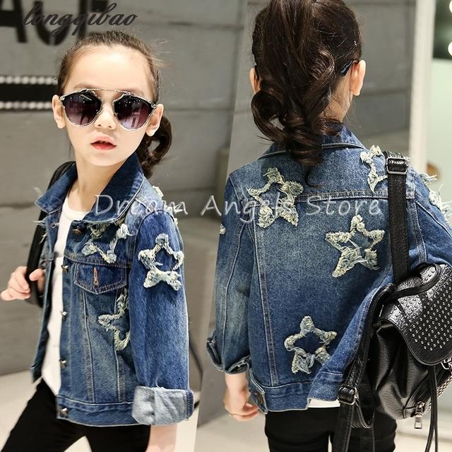 New outono e primavera roupa das crianças criança roupas de bebê outerwear menina casaco jaquetas jeans Pentagrama menina kid tops jean desgaste