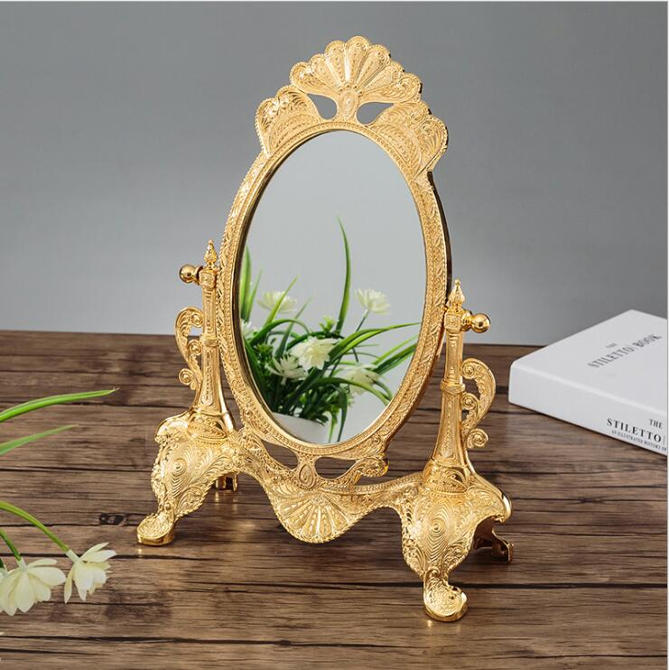 Ev ve Bahçe'ten Dekoratif Aynalar'de Avrupa 360 dönen gümüş/altın rengi masaüstü ayna makyaj masası aynası Düğün ev dekoratif aynalar büyük altın ayna J051'da  Grup 2