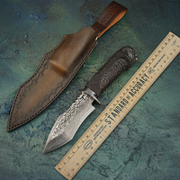 VG10 Damascus Steel Fixed Blade Knife With Sheath Non slip handle Tactical Knives Animal head Hunting Tools With Hammer