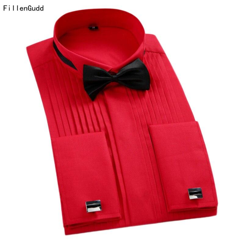 FillenGudd 2018 New Plus size 5XL Long Sleeve Men Tuxedo Shirts Red White Black French Cuffs Men Dress Wedding Shirts Bridegroom
