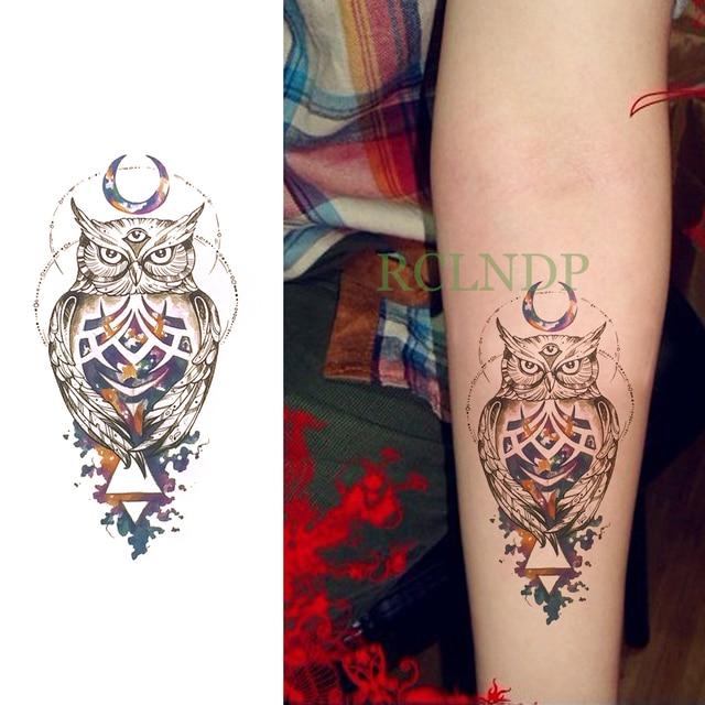 f43efab9a Waterproof Temporary Tattoo Sticker Owl Moon Fake Tatto Flash Tatoo Back  Leg Arm belly big size for Women girl Men body art