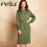Artka 2017 Autumn Winter Knit Wear Wool Contained Pullover Sweater And Skirt Two Pieces Suit YB11970Q