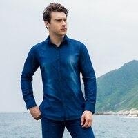 Top Brand Men's shirt Long Sleeve Plaid 100% Cotton Shirts Mens Dress Shirt European size Casual Denim Style Checks Shirts 2018