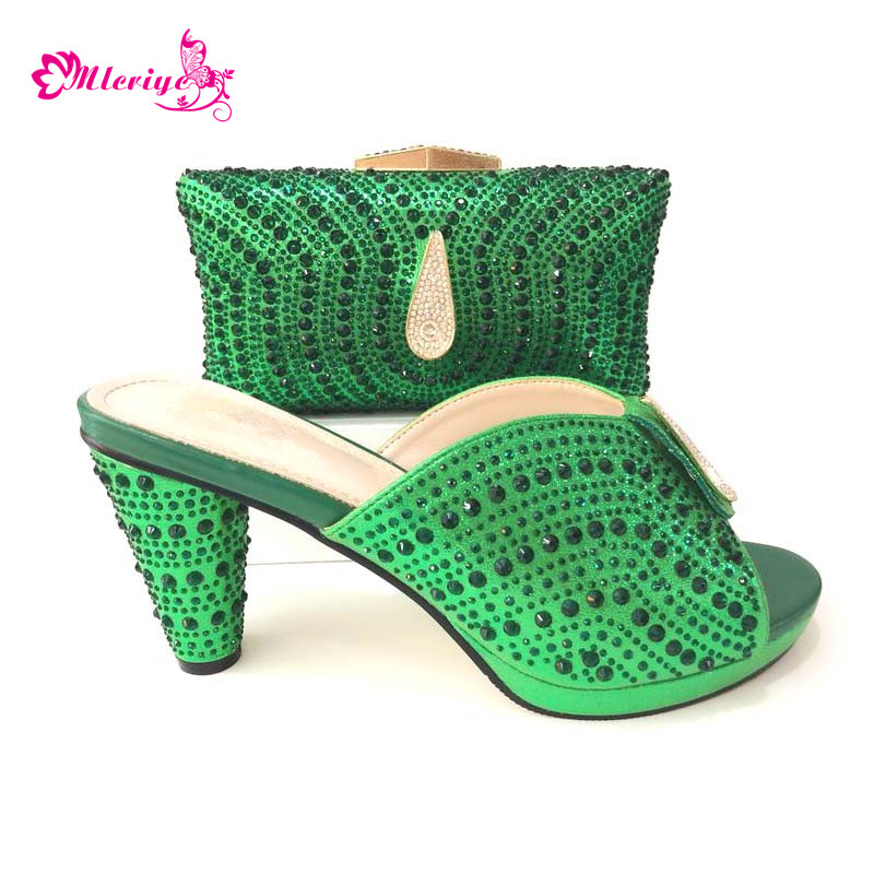 Latest Design Ladies Shoes with Matching Bags Set Decorated with Rhinestone Shoes and Bag Set African Sets 2018 Party Pumps ds010 newest silver african matching shoes and bag set beautiful design european ladies slipper and bags sets free shipping