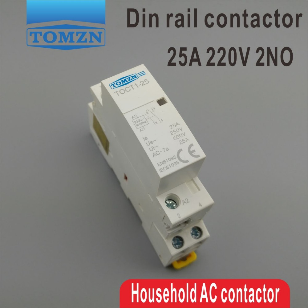 CT1 2P 25A 220V/230V 50/60HZ Din rail Household ac Modular contactor 2NO ct 2p 25a no nc ac220v home ac contactor often open ct1 25 25a lyn brand