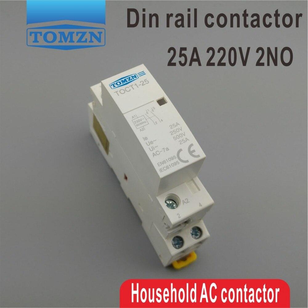 Ct1 2 p 25a 220 v/230 v 50/60 hz do trilho do ruído do agregado familiar ac contator modular 2no