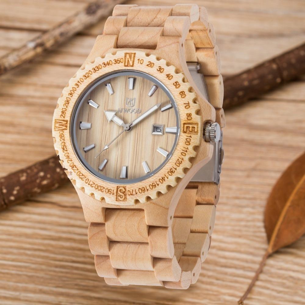 870be0c1c جديد وصول الخشب الساعات النساء الرجال للجنسين اليد الخشبية الكلاسيكية للطي  المشبك كوارتز حركة المعصم ووتش مع حزام الخشب