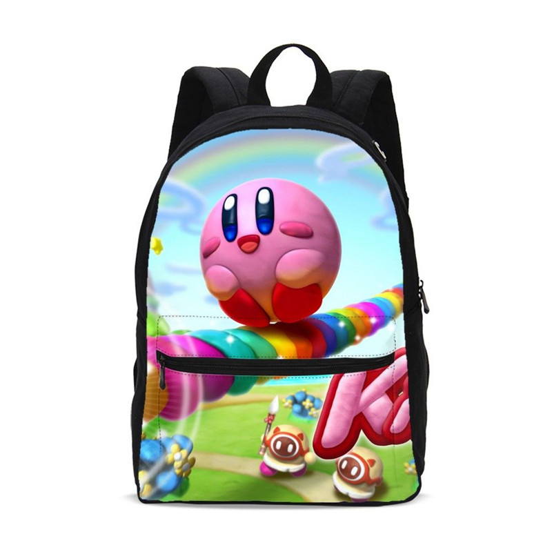Canvas Backpack For Girls Boys Cute Cartoon Kirby 3D Printed Bookbag School Bags Travel Backpack Casual