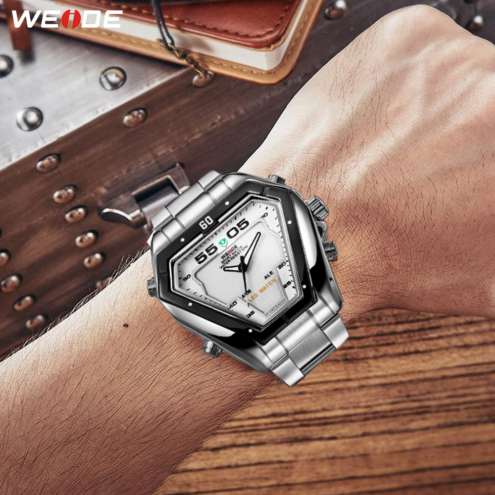 WEIDE Mens Fashion Luxury Quartz Stainless Steel Strap Analog Digital Date Calendar Waterproof Military Watch Relogios Masculino in Quartz Watches from Watches