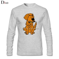 Men S Premium Cool Funny Golden Retriever Dog With Beer Bottle Tees Shirt Custom Long Sleeve