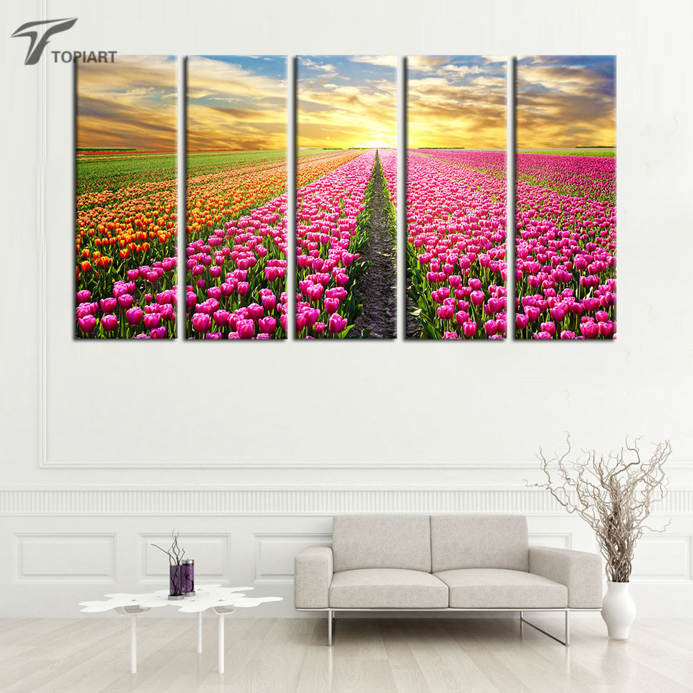 5 Piece Canvas Art Painting Calligraphy Tulip Fields Red Yellow Flower Sea Wall Painting Large Pictures for living room No Frame