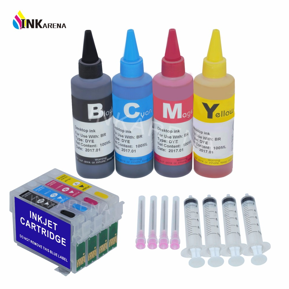 цена T1281 Empty Refillable Ink Cartridge + 400ml Dye ink For EPSON Stylus S22 SX125 SX230 235W 420W 425W 430W 435W Printer Ink