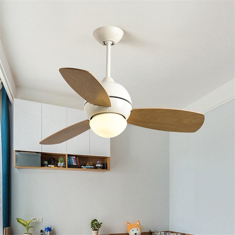 34/36/42 pouces Nordique Creative Café led ventilateur de plafond Lampe Restaurant ventilateur plafonnier Moderne Simple Macaron Chambre Lumières Ventilateur