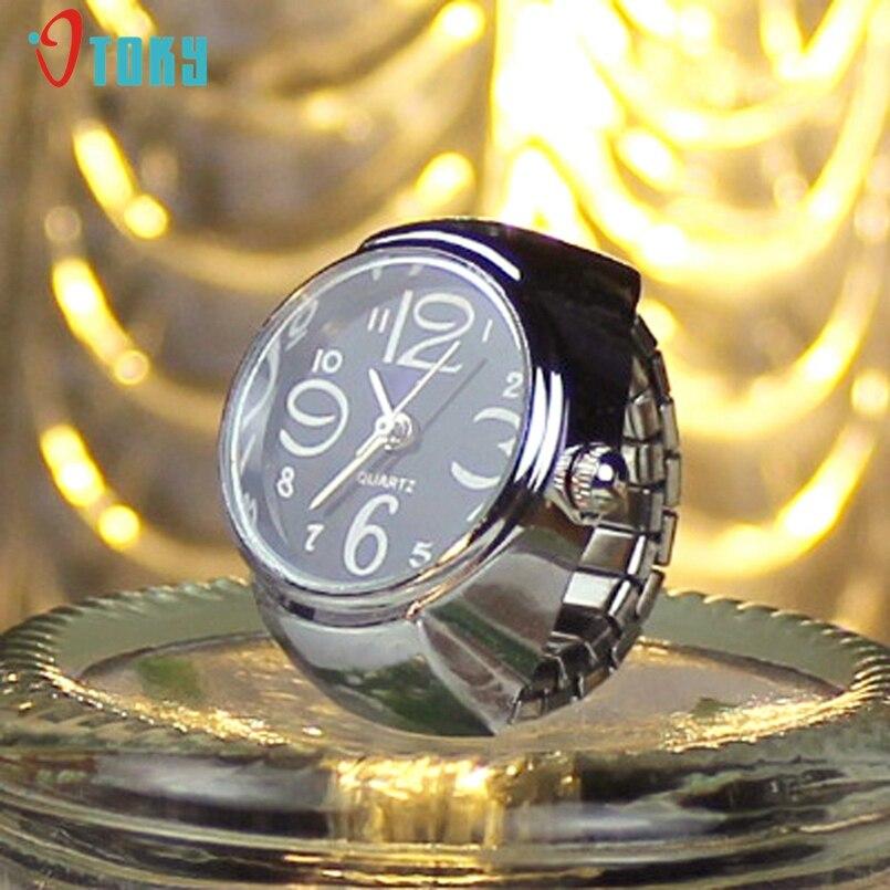 New Arrive Silver Watch Shape Fashion Rhinestones Zircon Party Jewelry Men Wedding Round Finger Ring Women Silver Ring Watch
