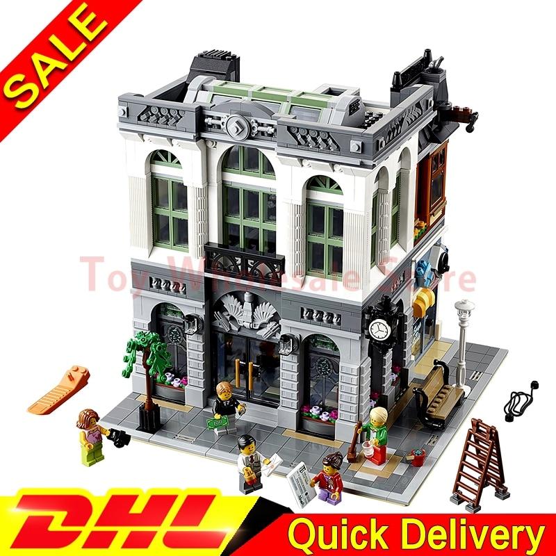 LEPIN 15001 2413Pcs Brick Bank Model Building Street Sight Kits Blocks Bricks Kits lepins Toy Clone 10251 2016 neue lepin 15001 2413 stucke creator ziegel bank modellbau kits blocks bricks spielzeug kompatibel junge brithday geschenk