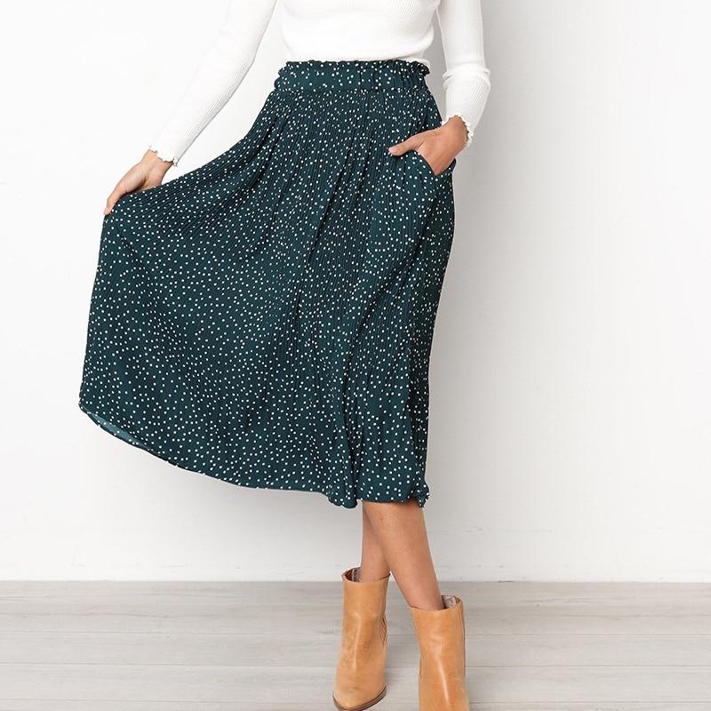 Saia de verão Polka Dot Imprimir Chiffon Casual Midi Saias de Cintura Alta Bottoms Das Mulheres Saia Longa Plissada Faldas Mujer Moda 2019