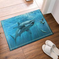 Shark seals on the blue ocean Bath Rugs, Non Slip Floor Entryways Outdoor Indoor Front Door Mat