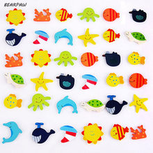 20Pcs/set hot sale Educational wooden Toy Baby Kid Gift Cartoon Funny Wooden Kitchen Fridge Magnet Sticker(China)