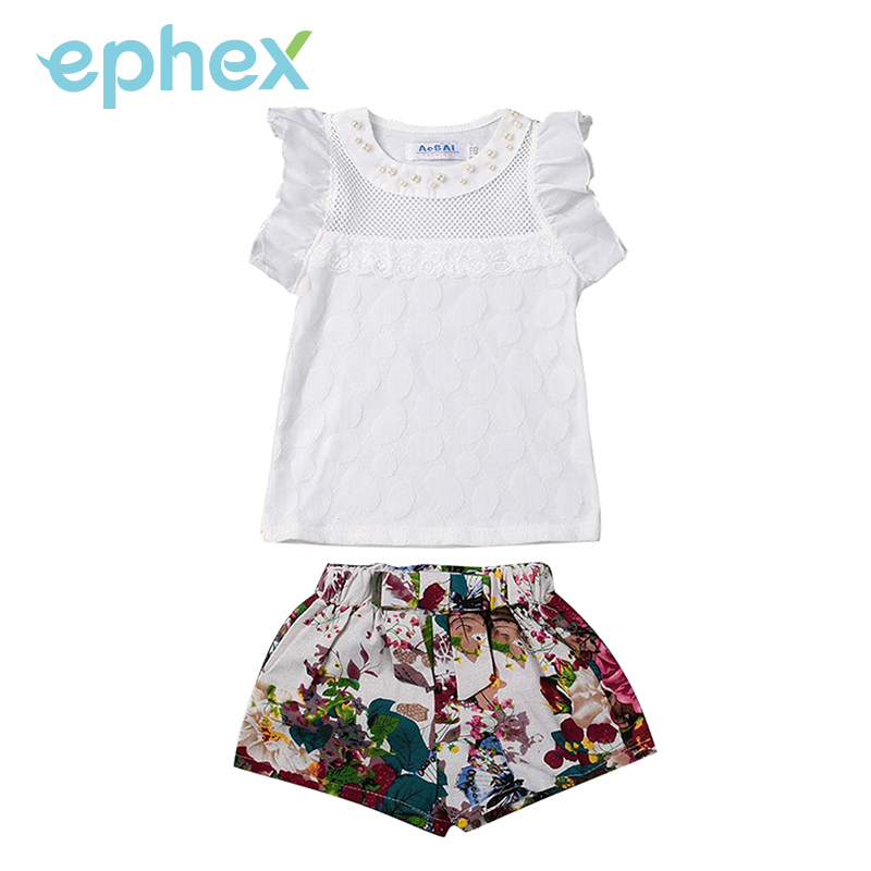 Ephex Cute Girls Summer Sets Cotton Pearl Mesh Lace Shorts+Short Pants O-Neck Petal Sleeve Tops T-Shirt Chidren Kids 2PCS Clothe
