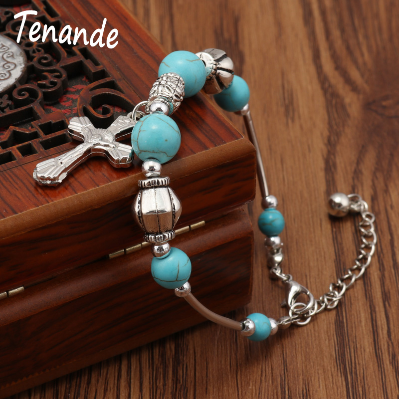 Tenande Tibet Silver Color Carved Leaves Natural Stone Beads Cross Pendant Bracelets for Women Bohemian Jewelry
