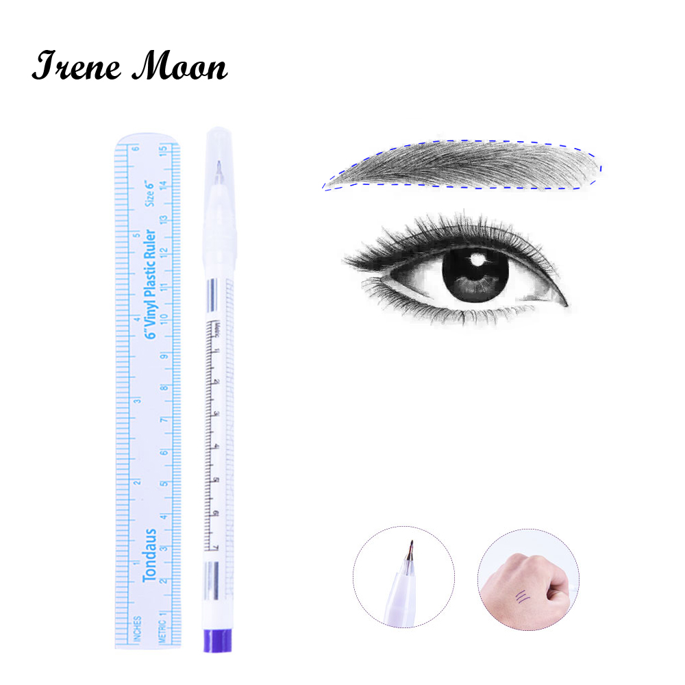 Surgical Skin Marker for Eyebrow Skin Marker Pen Tattoo Skin Marker Measure Measuring Ruler Set Tool Disposable Tattoo Supply
