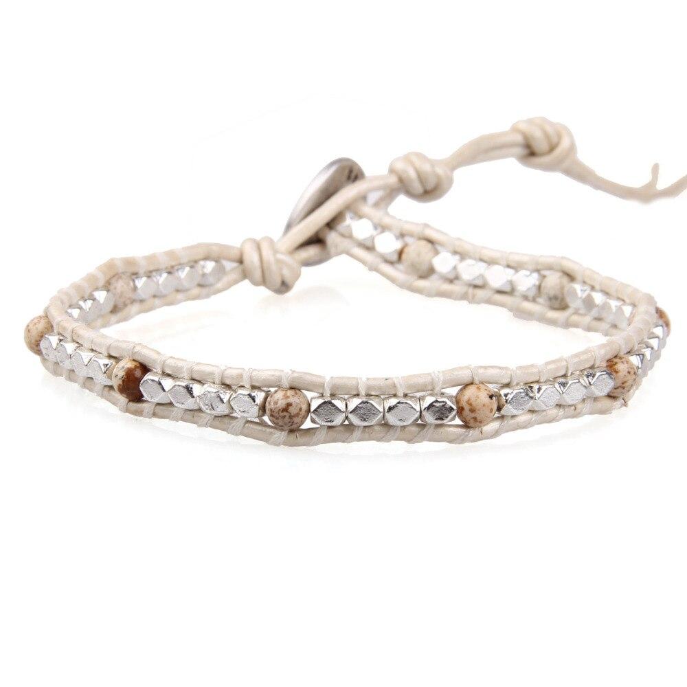 CQUAN CHI 1 Pcs Bohême Mignon Facettes Argent Perles Amitié Bracelets Véritable 1 Wrap En Cuir Strand Bracelet de Femmes