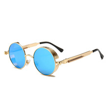 Round Punk Steam SunGlasses Retro Circular Metal Frame Reflective Colorful Ladies Vintage Sun Glasses Men