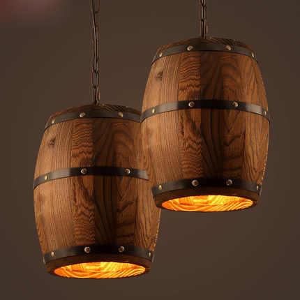 винтажный деревянный кулон в виде бочонка лампа в стиле лофт