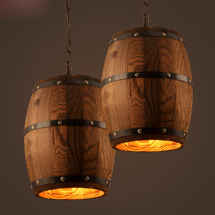 Aliexpress Com Buy Vintage Wooden Barrel Pendant Lamp