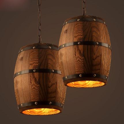 vintage wooden barrel pendant lamp loft style hanging lamp creative wood pendant light bar loft lamp