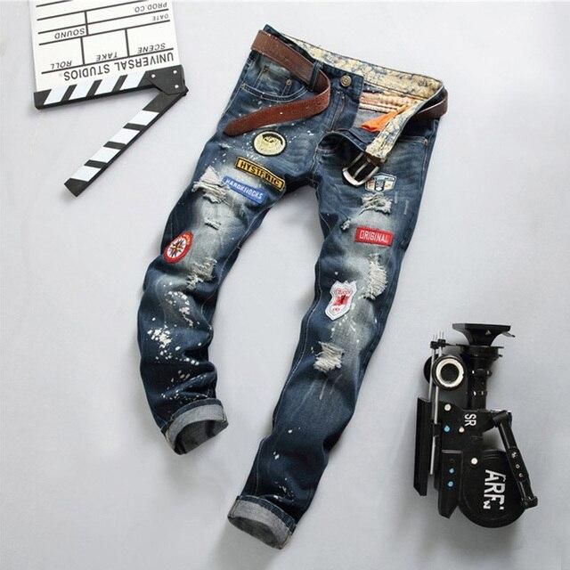 Europa y los Estados en la calle locomotora biker jeans hombres punk mens pantalones micro rectos Delgados pantalones vaqueros masculinos 778