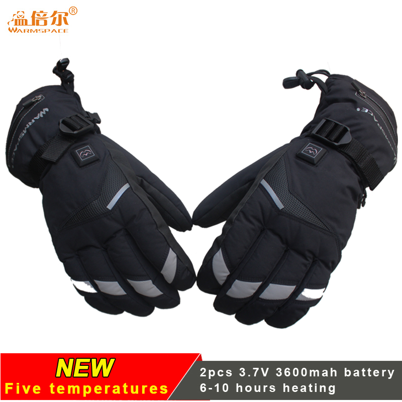 Rechargeable Battery Heated Gloves, Full Fingers Heating Winter Gloves Men Women Windproof Waterproof Tactical Mittens
