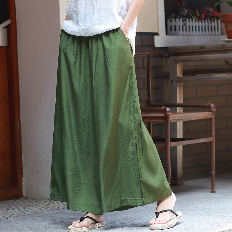 women spring summer silk   pants   black trousers cuprammonuium pantalon mujer loose   wide     leg     pants   elastic waist culotte