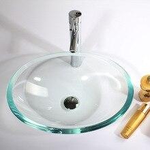 Ванная комната EN люкс настенный прозрачный овальный стеклянная раковина умывальник+ подставка