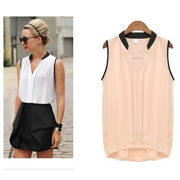 Casual Summer Chiffon Blouses Women Plus Size Loose Sleeveless Vest Pactwork White Pink V-Neck Tops Office Lady Blouse Shirts